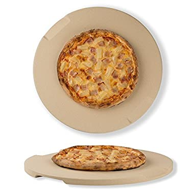 Pizza Stone 15  Round Baking & Grilling Stone, Perfect for Oven, BBQ and Grill. Innovative Double - faced Built - in 4 Handles Design