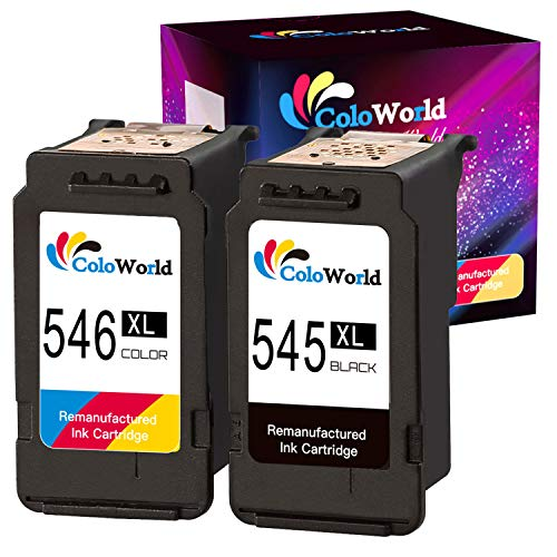 ColoWorld pg-545XL cl-546xl - Cartuchos de tinta para Canon Pixma TS3150/3151/205/305 MG2555S/3050/2550/2550S MX495 TR4550 Ip2850 (1 color negro y 1 color)