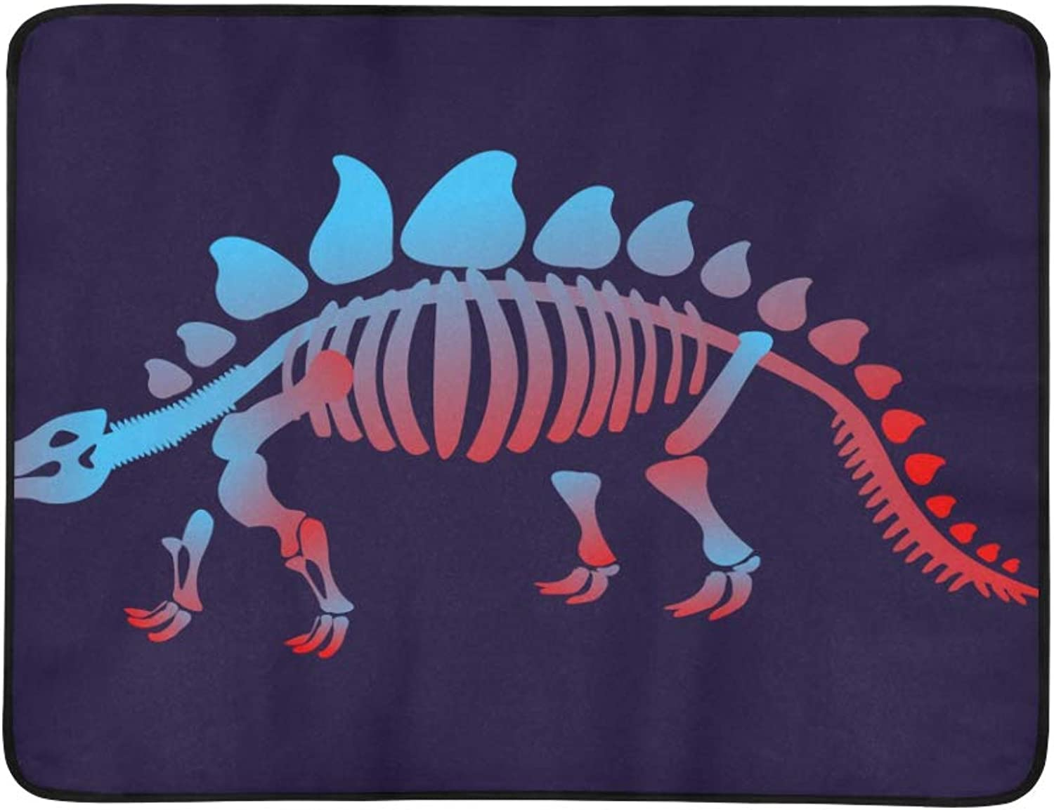 Skeleton of Dinosaur Pattern Portable and Foldable Blanket Mat 60x78 Inch Handy Mat for Camping Picnic Beach Indoor Outdoor Travel