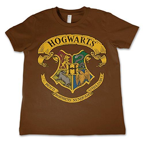 HARRY POTTER Oficialmente Licenciado Hogwarts Crest Unisexo Niños Camiseta - Marrón 7/8 Años
