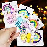 Comius Sharp 12 Piezas Pinzas para el Cabello Coloridas, Accesorios para el Cabello Lollipop Horquillas Arcoiris, Baiyun & Arco Iris Horquilla, Pinza de Pelo Regalo para Niños Fiestas Cumpleaños