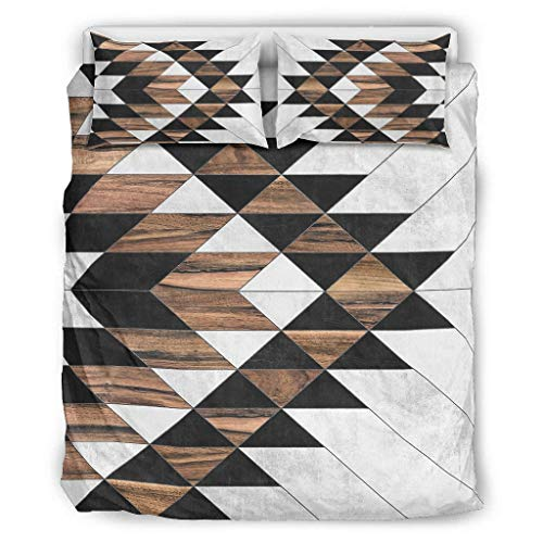 Hothotvery 3PC Bed Linen Sets Aztec Wood Concrete 3-Piece Bedding Printed Luxury Duvet Cover Christmas Quilt Cover and Pillow Shams White 229 x 229 cm