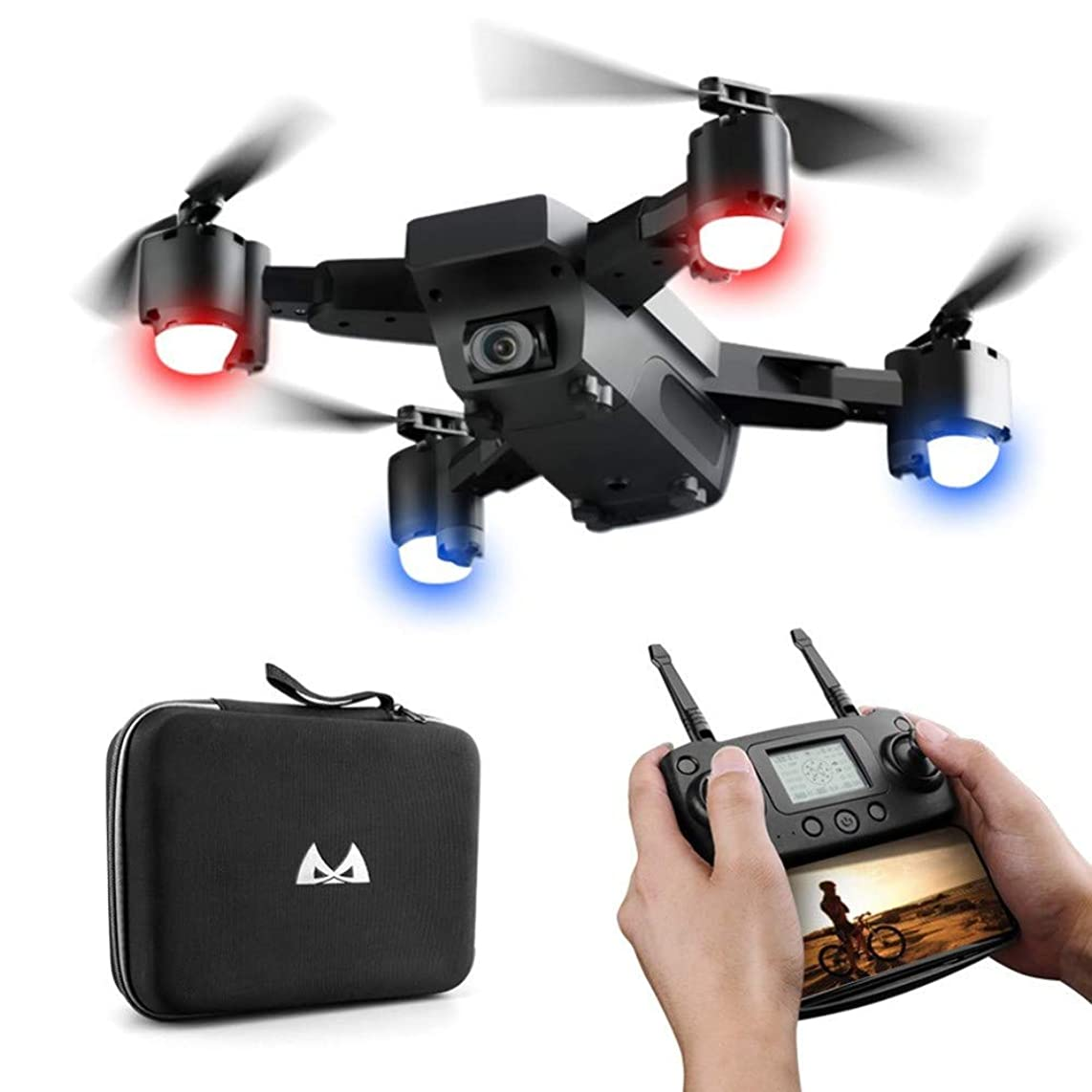 2.4GHz Foldable Quadcopter, SMRC S20 RC Quadcopter 3D Flips 1080P 120°Wide-Angle Altitude Hold Selfie Drone Remote Control Toy with LED Lights & Portable Storage Bag, for Kids & Beginners