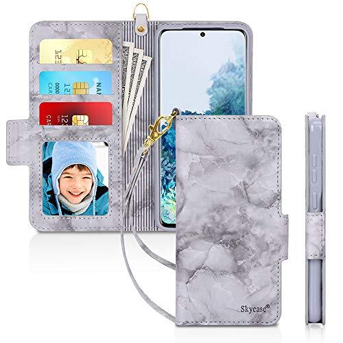 "Skycase Galaxy S20 Case 5G 6.2"", Samsung Galaxy S20 Wallet Case,[RFID Blocking] Handmade Flip Folio Wallet Case with Card Slots and Detachable Hand Strap for Samsung Galaxy S20 6.2"" 2020,Mar Black"