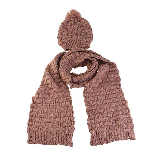 Pixnor Femme Hiver Tricot épaissir Chapeau Casquette et écharpe Jeu (Riz Rouge Teinte)