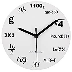 Timelike Math Clock, Unique Wall Clock Modern Design Novelty Maths Equation Clock - Each Hour Marked by a Simple Math Equation (12(30CM))