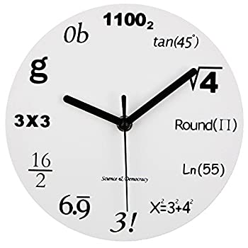 Timelike Math Clock Unique Wall Clock Modern Design Novelty Maths Equation Clock - Each Hour Marked by a Simple Math Equation  8  20CM