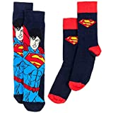 u-wear DC Comics Mens Socks 2-Pack Superman Logo Cape UWear Bekleidung