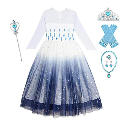 O.AMBW Vestido para niñas de 2-10 años Multicolor Azul Oscuro Blanco Frozen 2 Queen Elsa Disfraz de Cosplay con 6 Juegos de Accesorios Fiesta de Halloween Carnaval Juego rol Regalo cumpleaños