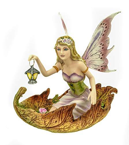 Figur Elfe, Fee Luminosa mit Laterne in einem Blatt knieend, 20cm