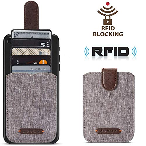 Card Holder for Back of Phone RFID Blocking 5 Pull Credit Card Cash Cell Phone Wallet Pocket Canvas Pu Leather Stick-On ID Case for iPhone/Android/Samsung/Smartphones (Brown)