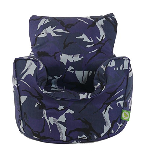 Cotton Urban Camo Camouflage Blue Bean Bag Gaming Arm Chair with Beans Child/Teen size By Bean Lazy