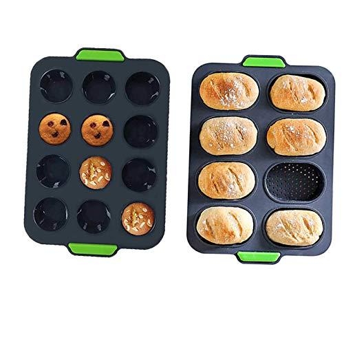 Foremki do pieczenia 8 sztuk silikonowych form do pieczenia + forma do pieczenia na 12 muffinek, bagietki, blachy do pieczenia, formy do muffinek z silikonu do puddingu, ciasta, browni – nieprzywierająca i łatwa do czyszczenia (kolor )