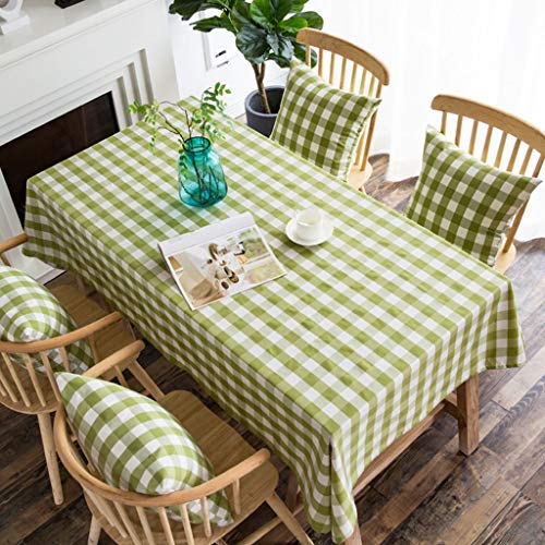 Tafelafdekking Plaid tafelkleed Tafelafdekking kreukherstellende waterdicht polyester for Banketlijst 1 Stuk Tartan geblokt (Color : Green, Size : 140 * 220cm)