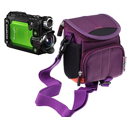 Navitech Purple Camera Case Bag Compatible with The Olympus Tough TG-Tracker Waterproof Action Camera