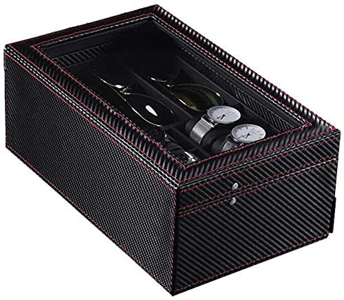 Caja de almacenamiento de visualización de reloj Caja de reloj Caja de doble capa Gafas caso reloj collar caja de mesa de joyería PU caja de reloj de madera de lujo