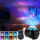 LED Sternenhimmel Projektor, Qomolo Projektionslampe Nachtlichter Starry Stern Mond/Rotierende Wasserwellen/Bluetooth Lautsprecher mit 15 Farbens und Fernbedienung & Timer