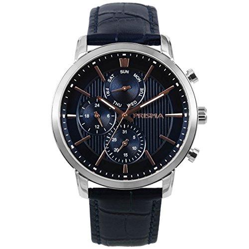 Prisma Refined herenhorloge blauw multifunctioneel analoog P1589