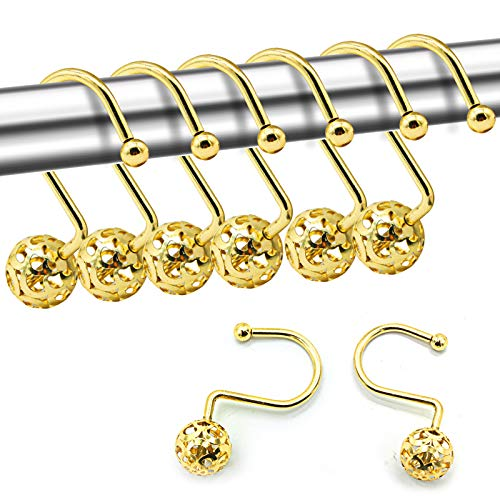 FINROS 12Pcs Gold Shower Curtain Rings Hooks Decorative Hollow Ball Design Metal Curtain Rod Hangers Pothook Rustproof for Bathroom