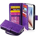 J.west Galaxy S6 Case, Galaxy S6 Wallet Case, Premium PU Leather Case Magnetic Wallet Credit Card ID Holder Flip Cover Case with 9 Card Slots and Wrist Strap Case for Samsung Galaxy S6 Purple