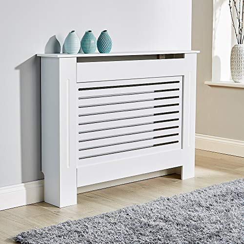 BFW Wooden White Radiator Cover with Grill, Medium