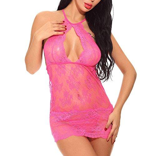 SomeTeam Damen Erotik Reizwäsche Sexy Dessous Set Nachthemd Spitze Bodysuit Unterwäsche Nachtwäsche Nachthemd