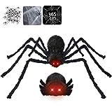 Halloween Deko inkl. 125cm große Spinne mit LED Augen, gruseligen Geräusche & zitterndem Körper + 20 mini Spinnen + 365cm Spinnennetz + Spinnwebe, geruseliges Halloween Dekoration Garten Aussen