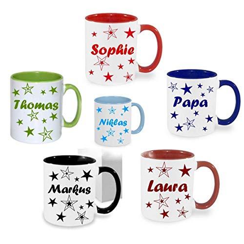 Personalisiertes/Individuelles Geschenk. Tasse Kaffeebecher Kaffee Tasse mit Namen und Sternen bedruckt