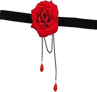U7 Bijoux Fantaisie pour Femme Fille /à Personnaliser Collier//Bracelet Projectif//Bague Ouverte//Boucles doreilles Plaqu/é Or Fleur Rose Rouge avec Bo/îte-Cadeau Bleue