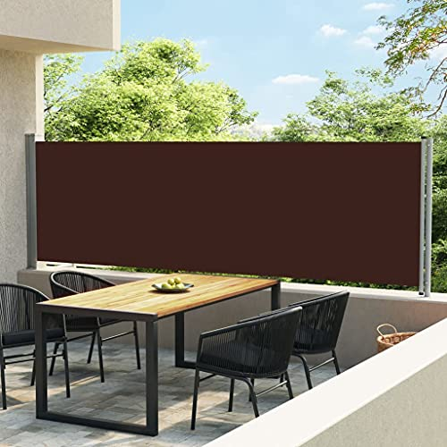 LUYIPINGQIWND Color: Marrón y Gris Toldo Lateral retráctil para Patio marrón 140x600 cm