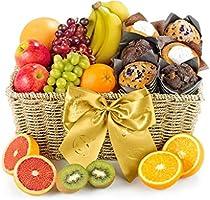 Fresh Fruit & Muffin Hamper - Hand Wrapped Food Basket, in Gift Hamper Box