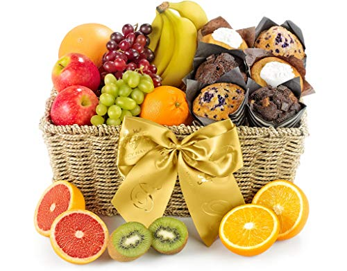 Fresh Fruit & Muffin Hamper - Hand Wrapped Gourmet Food Basket, in Gift Hamper Box