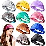 10 Pieces Tie Dye Bandana Headbands Boho Headbands Wide Elastic Cotton Turban Head Wrap Yoga Running Hairband Vintage Hair Accessories for Women Girls