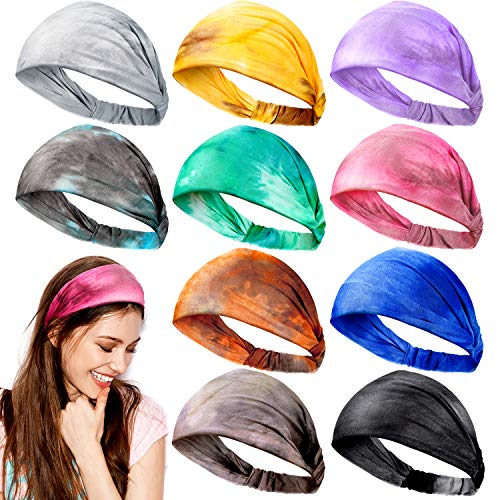 10 Pieces Tie Dye Bandana Headbands Boho Headbands Wide Elastic Turban Head Wrap Yoga Running Hairband Vintage Hair Accessories for Women Girls
