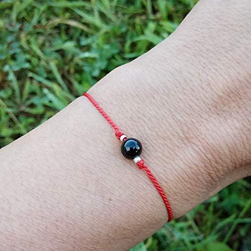 Pulsera turmalina negra hilo rojo, piedra natural 100% con energía protectora de uso personal