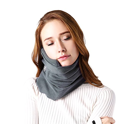 SAKEYR Neck Support Travel Pillow for Airplanes Soft Comfortable Travel Neck Pillow Scarf for Unisex Men Women Kids Airplane Sleep Pillow with Adjustable Strap Machine Washable (Grey)