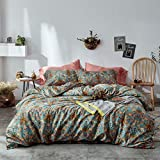 mixinni Vintage Style Garden Flower Duvet Cover Set with Zipper Closure Soft Cotton Yellow Flower Pattern on Blue Bedding Quilt Cover Set(King,Autumn)