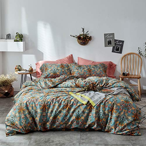 Vintage Style Garden Flower Duvet Cover Set with Zipper Closure Soft Cotton Flower Pattern on Blue Bedding Quilt Cover Set(Queen,Autumn)