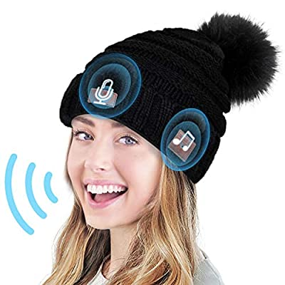 Greatfine Voice Control Bluetooth Beanie,Bluetooth Hat with AI,Bluetooth 5.0 Wireless Beanie,Beanie with Bluetooth Headphones, for Women Girls Teens,with Mic&HD Stereo Speakers
