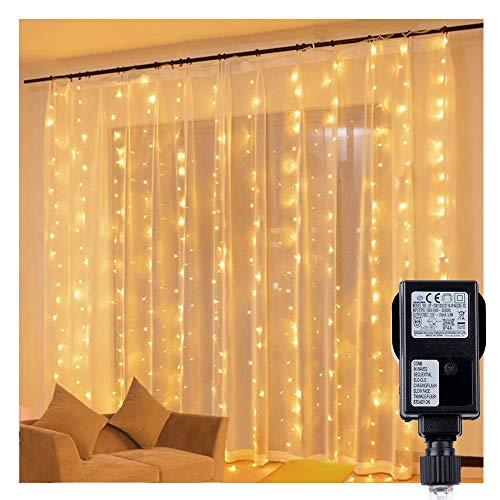 300 LEDs Fairy Light Curtains - Speclux 8 Modes Indoor Outdoor Warm White Fairy Lights Wall Hanging, Waterproof Christmas Curtain Lights for Wedding, Party, Gazebo, Wall, Bedroom&Garden