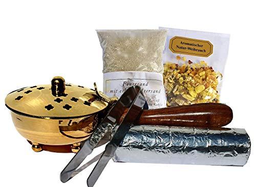 Räucherpfanne Set 5 teilig - Räuchergefäß zum Räuchern von Weihrauch, Harzen, inkl. Weihrauch, Räucherkohle, Räuchersand, Räucherzange