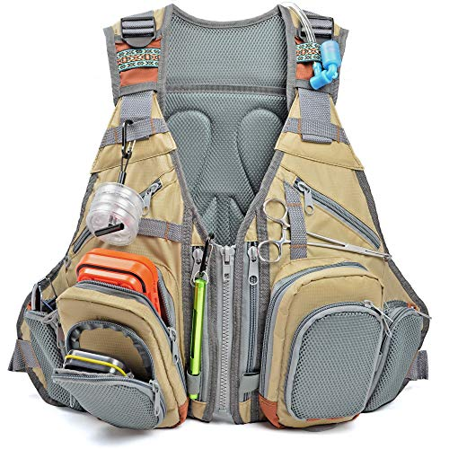 Fly Fishing Vest w/ Backpack – Premium Design & Versatility for Outdoor Activities, Adjustable for Men & Women (Khaki)