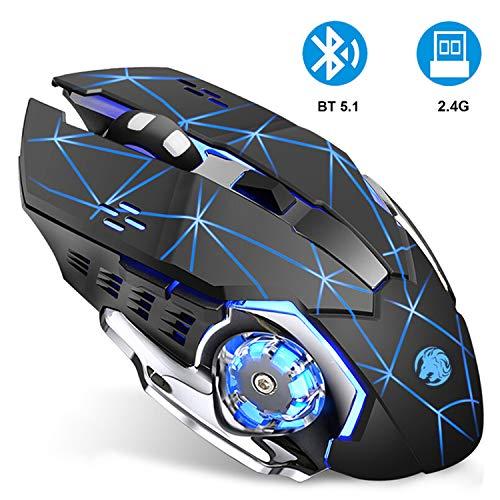 Coener M85 Mouse Gaming Bluetooth, 2.4 G e Bluetooth Dual Mode Mouse da Gioco Wireless 2400 DPI con 3 Livelli di Regolabile, Ricaricabile per Computer Portatili, Android, Laptop, MacBook (Nero Opaco)
