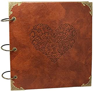 XIDUOBAO Retro Leather Photo Album Special Scrapbook DIY Anniversary Scrapbook Album,Vintage Photo Album,Love Heart Wedding Album.