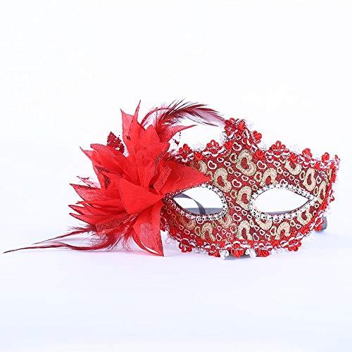 YiYuDe Masken Paintball-Schutzmasken Prinzessin Pie Flower Show Halbe Gesichtsmaske Make-Up Kinder Federball, Gold Puder Liebe Rot