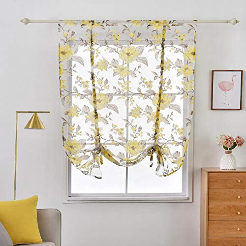 Roman Floral Sheer Tie Up Shades Curtains Kitchen Voile Tulle Fabric Window Treatments Valances Rod Pocket Balloon Drapes and Curtains for Bedroom Bathroom Living Room Windows 63 Inch Length, Camellia