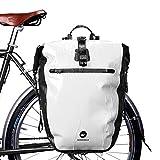 Huntvp 27L Bike Pannier Bag Backpack Multifunctional Bicycle Bag Cycling Bicycle Rear Seat Trunk Pack Bag Bike Saddle Bag Backseat Pack Bag(White)
