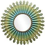 YUXIwang Espejo de maquillaje espejo de maquillaje de hierro forjado pluma de pavo real espejo colgante de pared para baño sala de estar corredor dormitorio espejo decorativo 80 cm