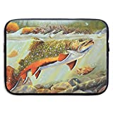 HOODSWOP Brook Trout Fly Fishing Print Waterproof Laptop Sleeve, Laptop Sleeve Bag- Stylish Cute Neoprene Notebook Carrying Case Handbag for 13' 15'