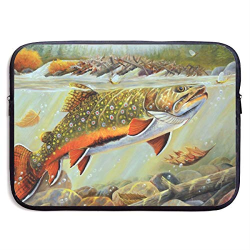 HOODSWOP Brook Trout Fly Fishing Print Waterproof Laptop Sleeve, Laptop Sleeve Bag- Stylish Cute Neoprene Notebook Carrying Case Handbag for 13' 15'
